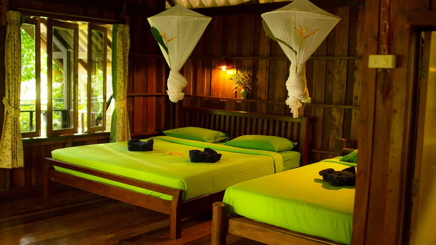 Khao Sok Rainforest accommodation interior beds