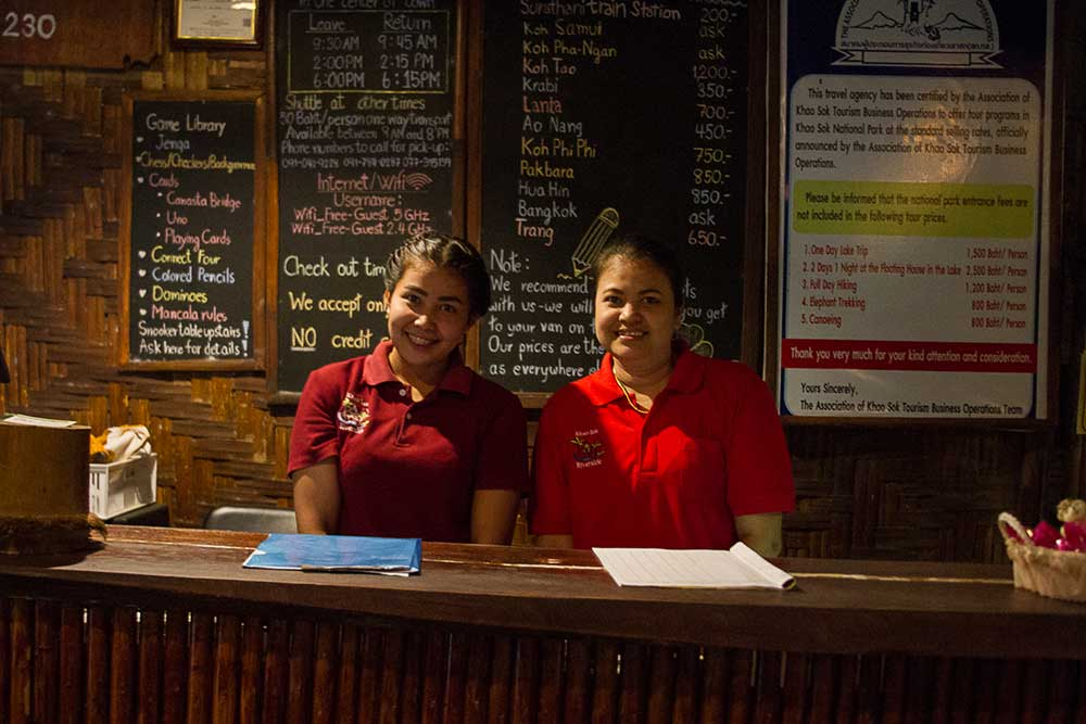 Khao Sok Resort reception staff
