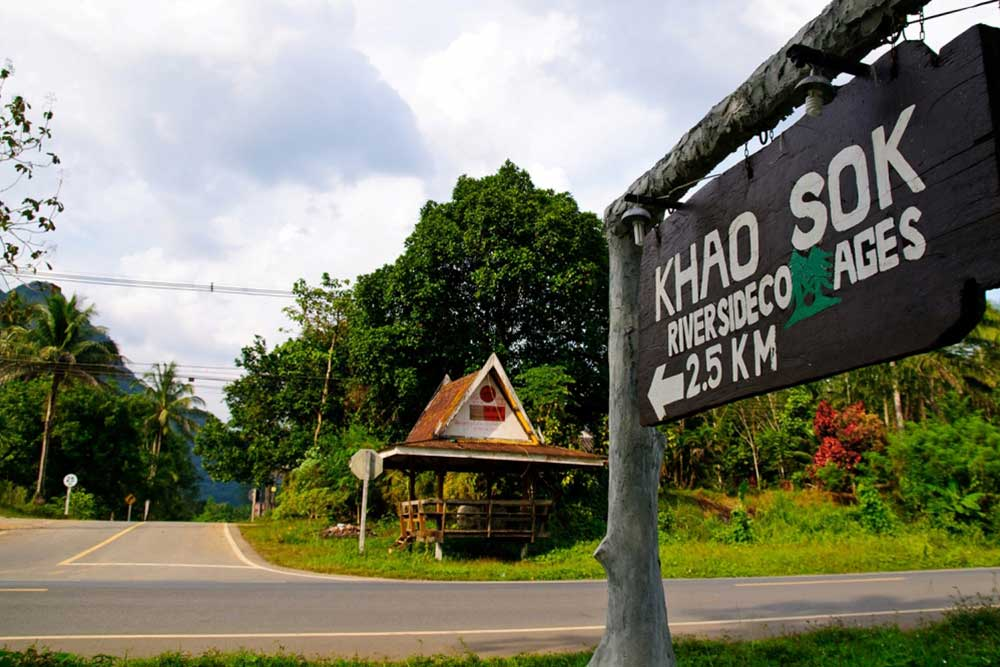 Khao Sok Map directions and sign