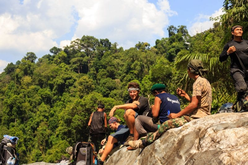Taking a break during our Khao Sok jungle adventure