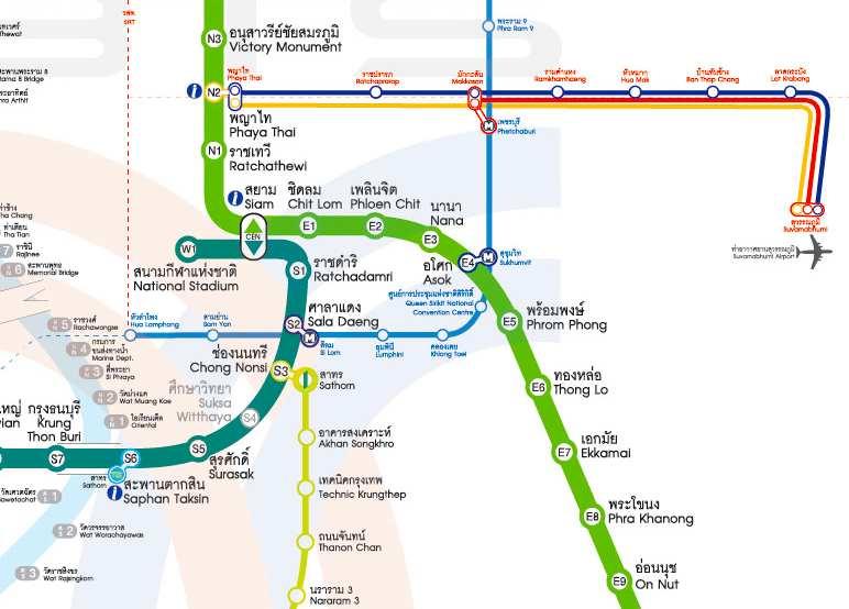 Bangkok mass transportation map