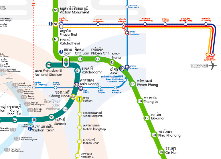 Bangkok mass transportation map