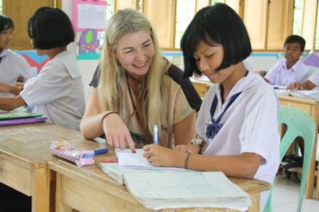 Off the beaten path in South Thailand volunteering with kids.