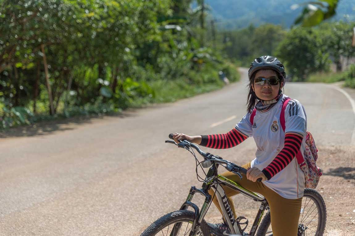 Riding a bike in Khao Sok